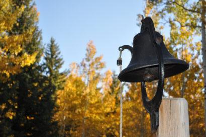 old school bell used as dinner bell