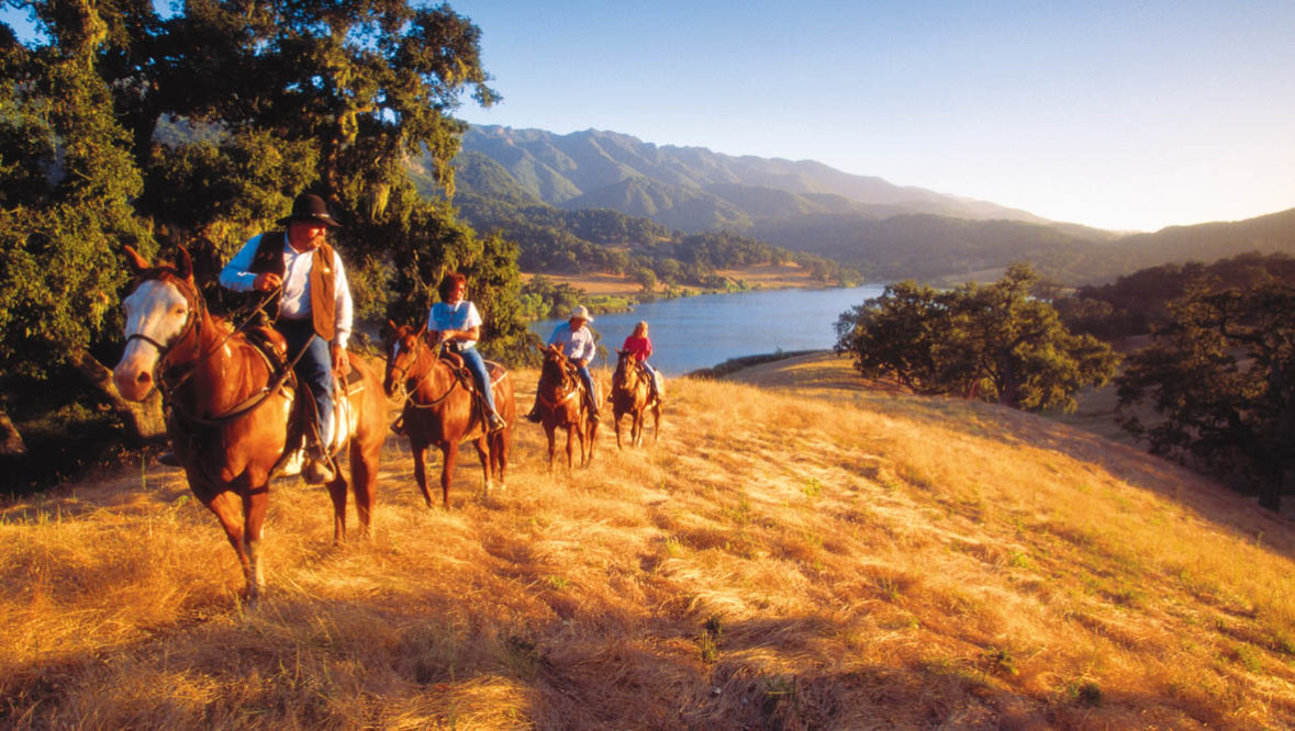Trail ride at sunset at Alisal Guest Ranch