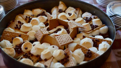 Pan of smores at Bar Lazy J Ranch