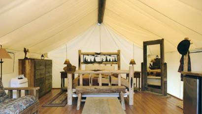 Glamping tent interior at Bar W Ranch