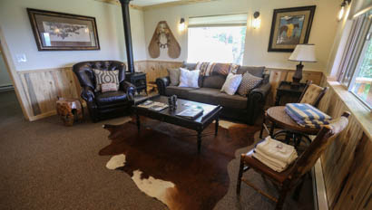 Cabin living room at Black Mountain Ranch