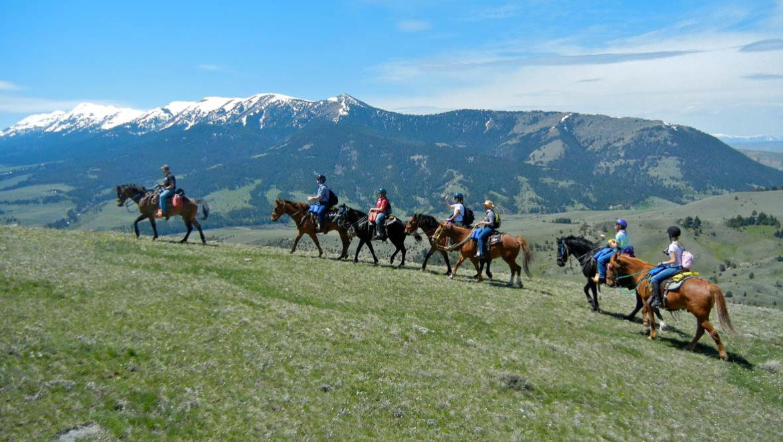 Family trail ride at Broken Arrow Ranch