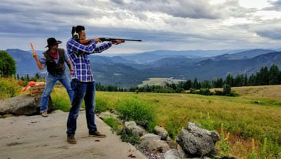 Guests shooting guns at Bull Hill Ranch