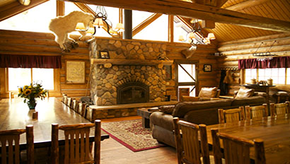 Covered Wagon Ranch Lodge Inside with Tables