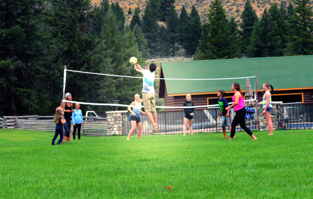 group of kids playing volleyball on green lawn