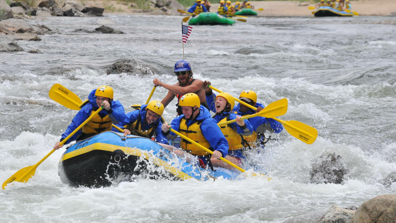 Guests river rafting at Elk Mountain Ranch