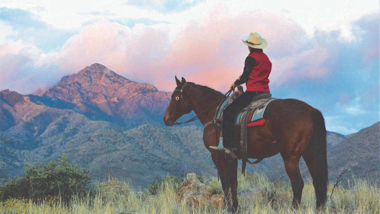 Cowgirl watching the sunrise at Elkhorn Lodge Arizona