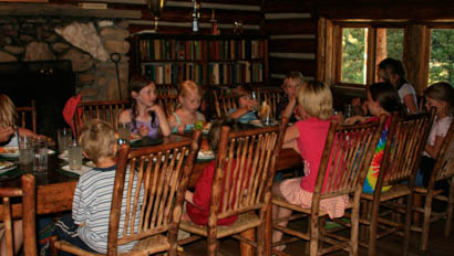 Kids at a dinner table at Elkhorn Ranch Montana