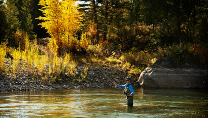 Guest fly fishing at Gros Ventre River Ranch