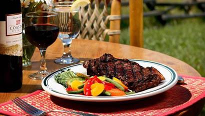 Outside steak dinner at Gros Ventre River Ranch