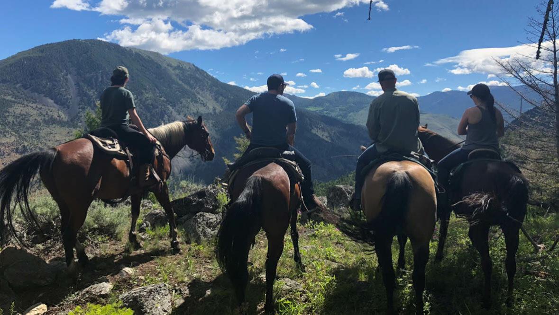 Cowboys on horses looking at the view at Hubbards Ranch