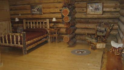 Cabin bedroom at K Diamond K Ranch