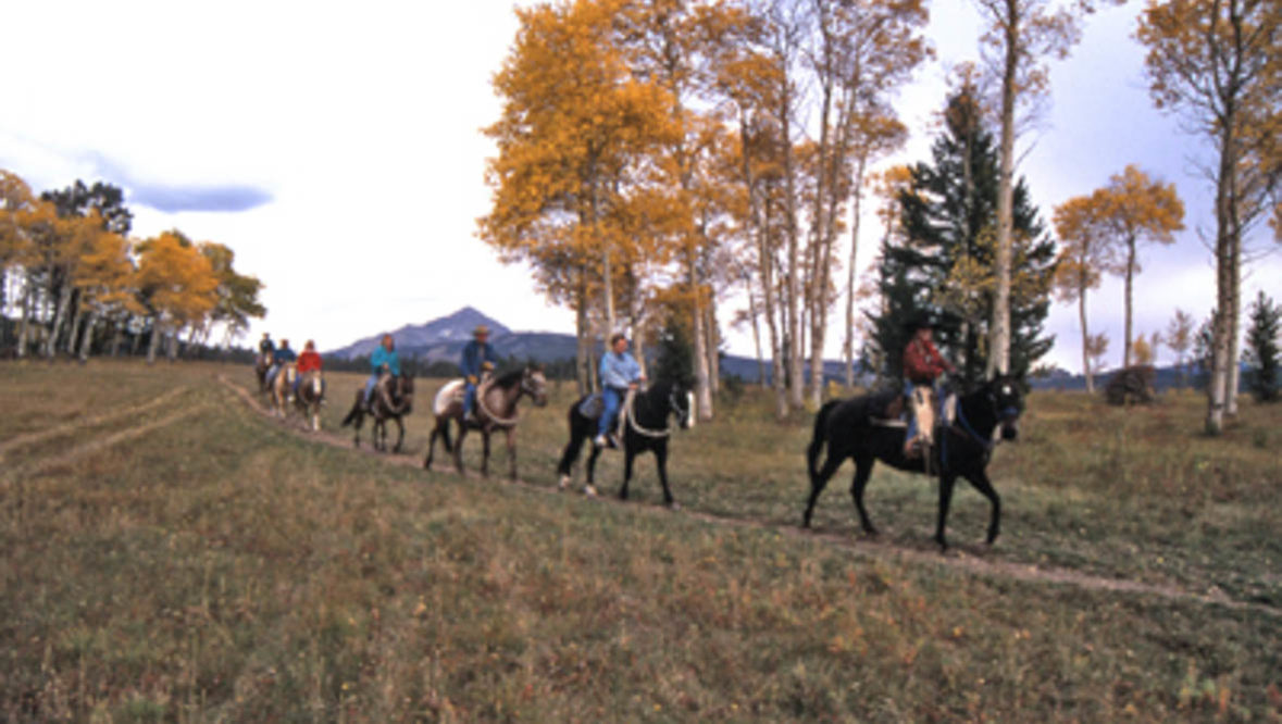 Trail ride during the fall at Lone Mountain Ranch