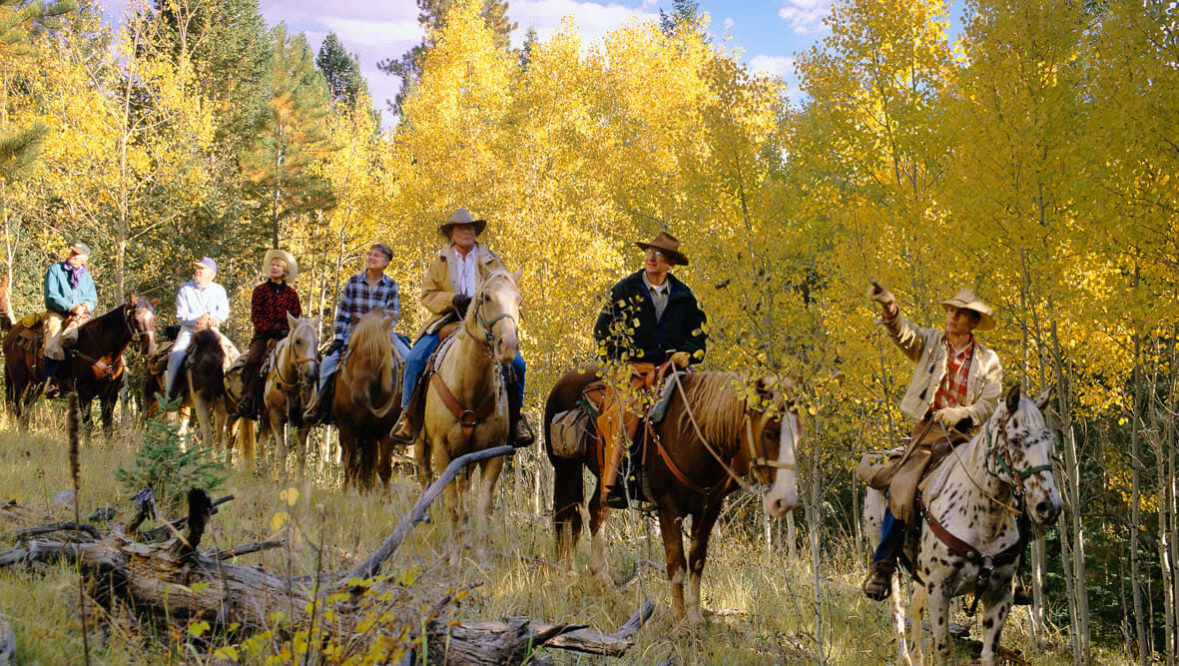 Family trail ride among the Aspen trees at Lost Valley Ranch
