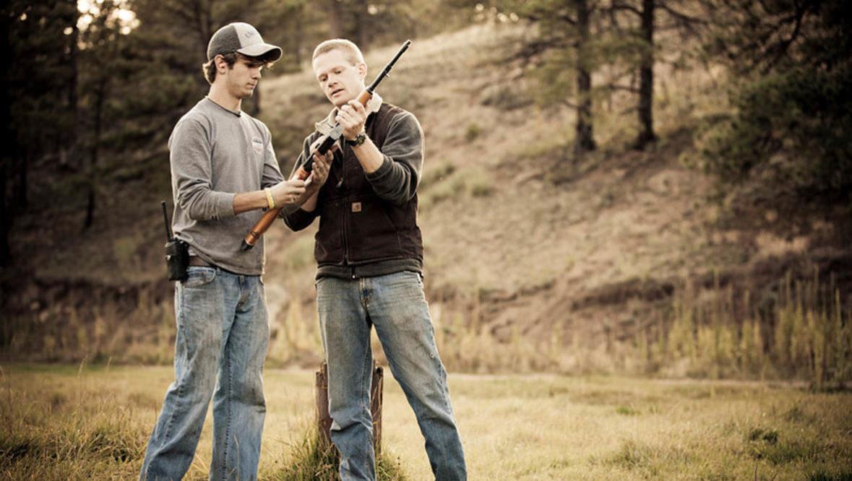 Guests shooting guns at Lost Valley Ranch