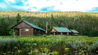 Cabin lodges in a field of flowers at Medicine Bow Ranch
