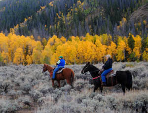 Trail ride during fall at Medicine Bow Lodge