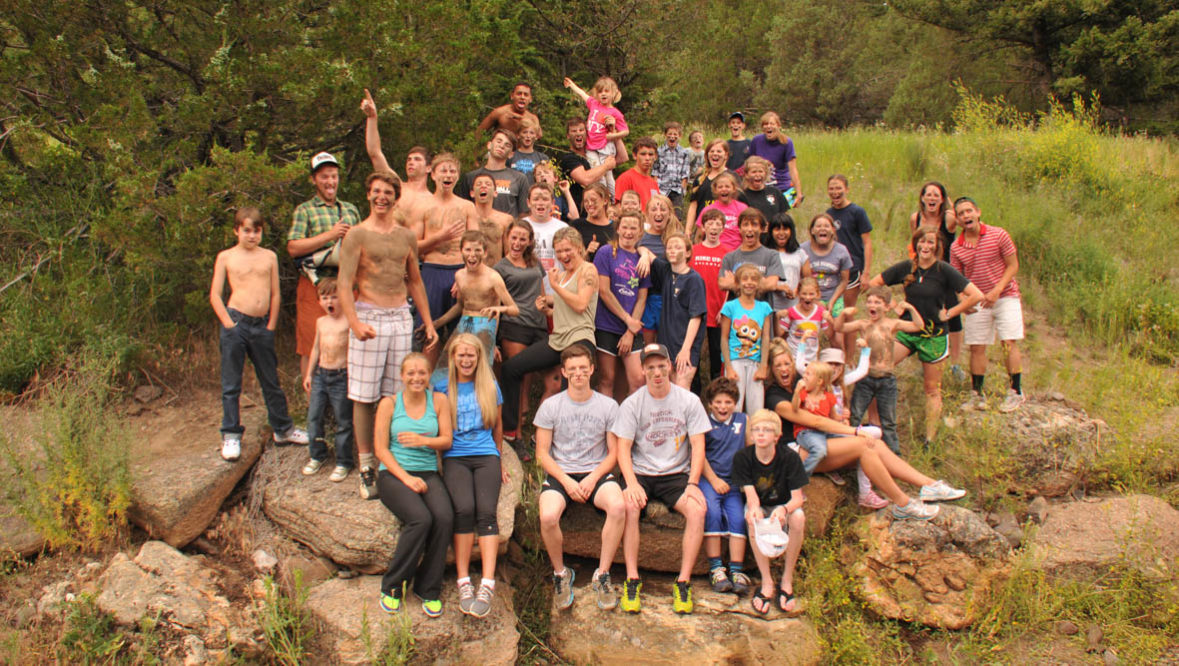 Group of kids at Mountain Sky Guest Ranch