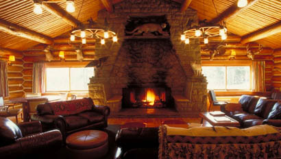 Lodge with fireplace at Nine Quarter Circle Ranch
