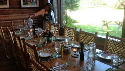 Dining table set up at R Lazy S Dude Ranch