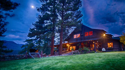 Rainbow Trout lodge at night