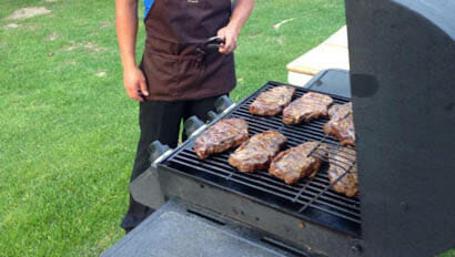 Meat on the grill at Rankin Ranch