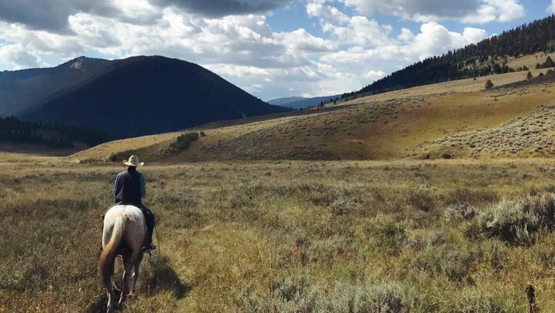 Guest on a horse roaming through fields at Elkhorn Ranch Montana