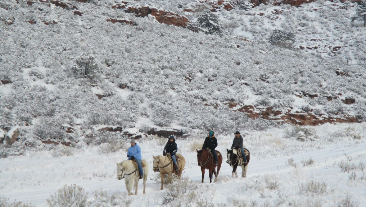 Sylvan Dale Ranch winter trail ride in the snow