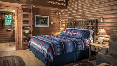 Lodge bedroom at Hideout Lodge Ranch