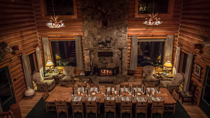 Dining room at Hideout Lodge Ranch