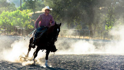 V6 Ranch cowboy running his horse in an arena