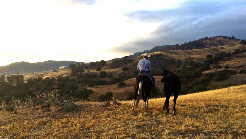 V6 Ranch trail ride at sunset