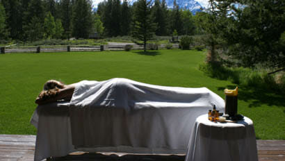 Woman lying for a massage at Lost Creek Ranch