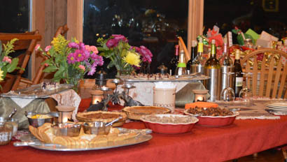 Dinner table at McGinnis Meadows Cattle Ranch