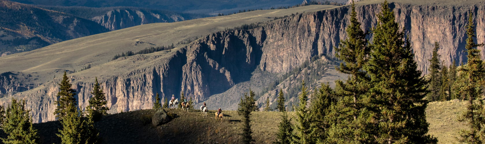 People riding horses near mountains