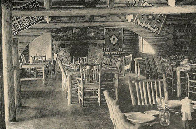 Historical photo of the inside of a Montana dude ranch cabin