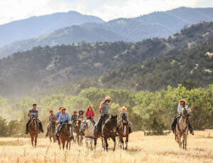 Family trail ride at Mountain Sky Guest Ranch