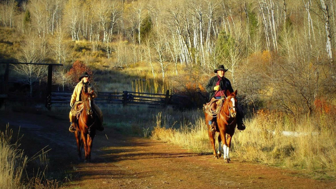 Two riders on a trail at McGarry Ranch
