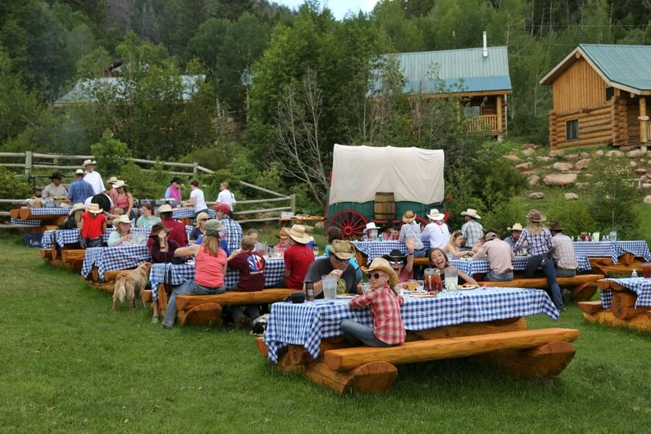 outdoor picnic at a dude ranch