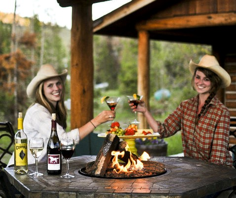 wine at a dude ranch