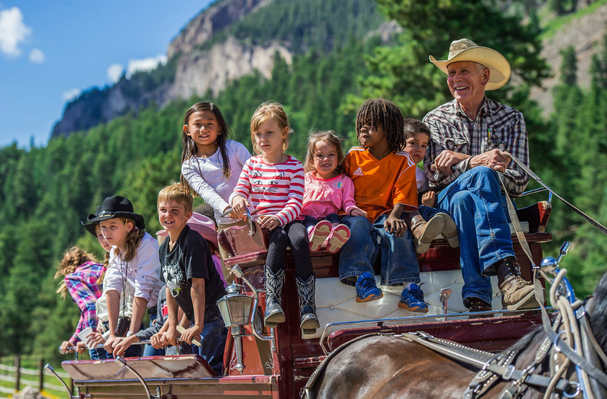 Family Wagon Ride at Rainbow Trout Ranch Colorado