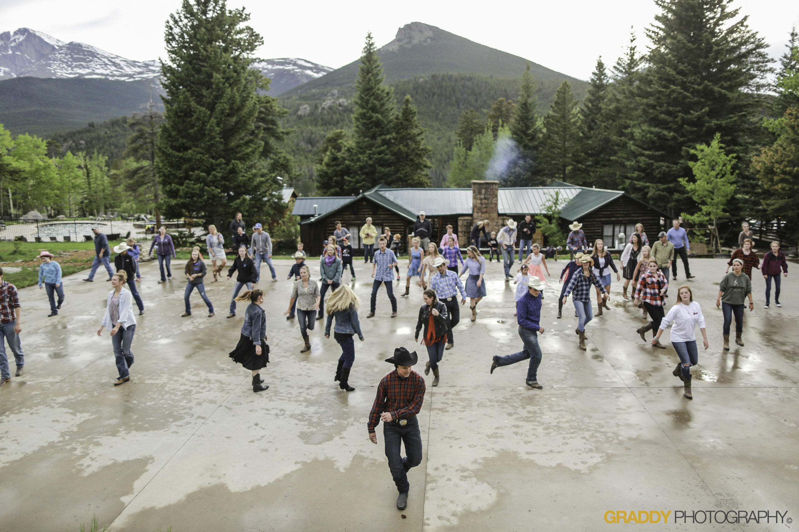 square dancing at a dude ranch