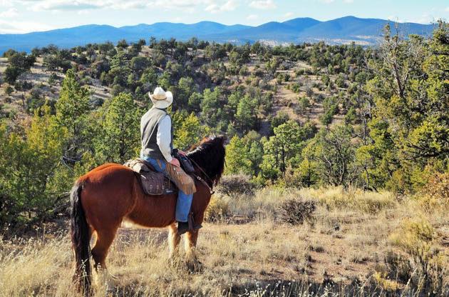 Cowboy looking at the view at Geronimo Ranch