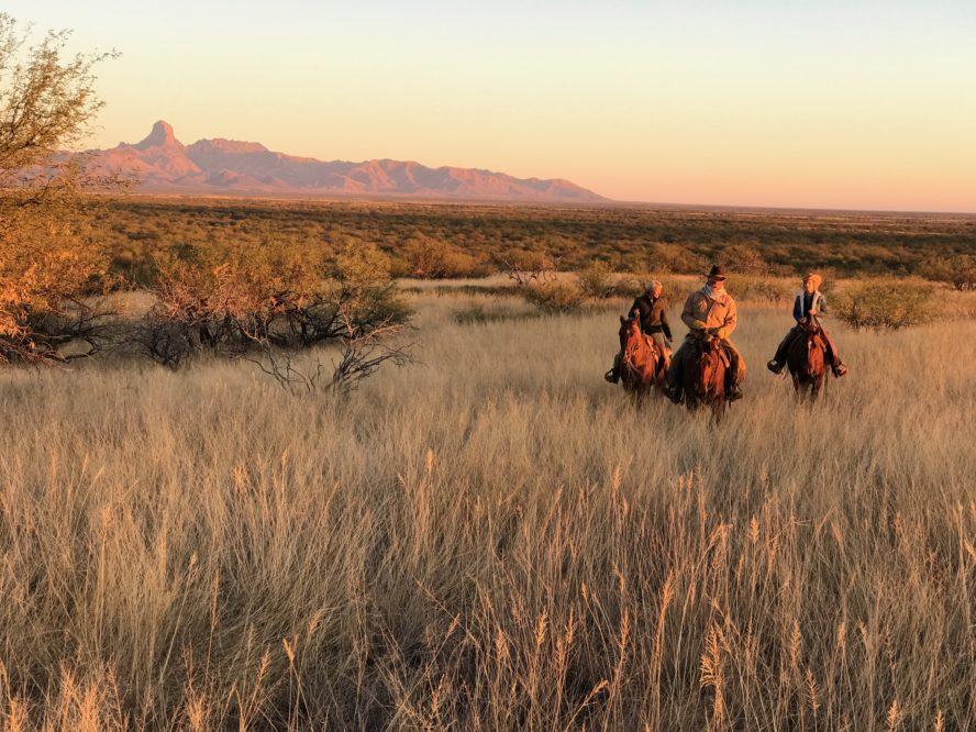 Rancho de la Osa three riders in the desert