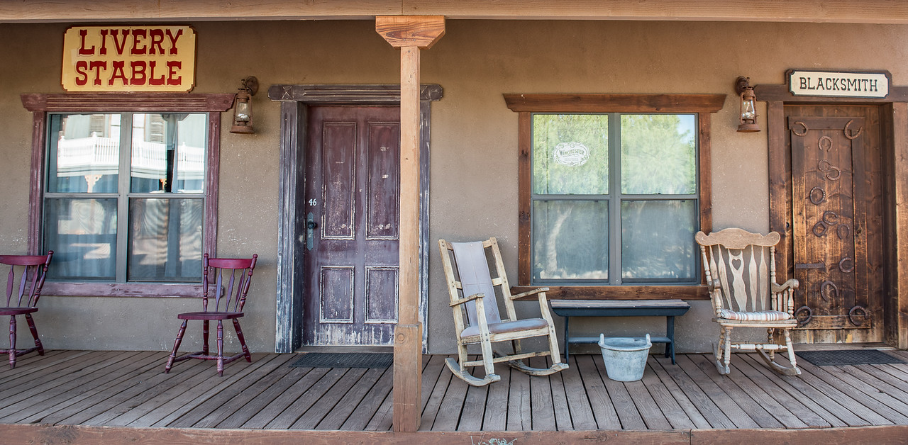 Tombstone Monument Ranch front porch of room