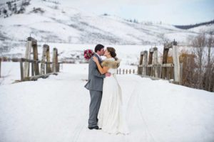 C Lazy U winter wedding couple